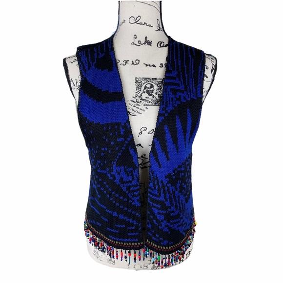 VTG Michele Laidier Blue Black Beaded Sweater Vest